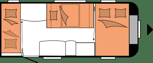 wnętrze przyczepy kempingowej hobby deluxe edition 490