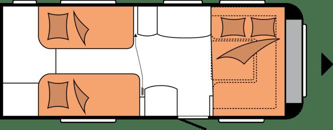 wnętrze przyczepy kempingowej hobby excellent 540 wlu